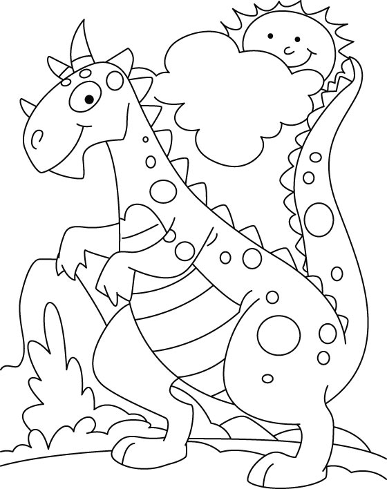 Coloring Page Of Dinosaur Cute Pages