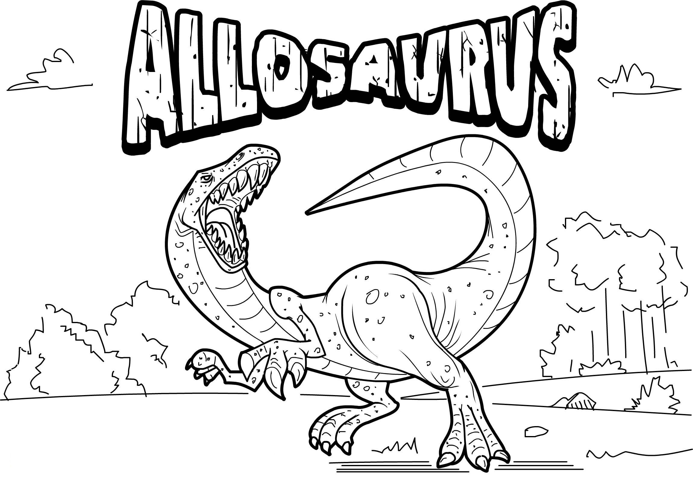 Dinosaur with Names Coloring Pages