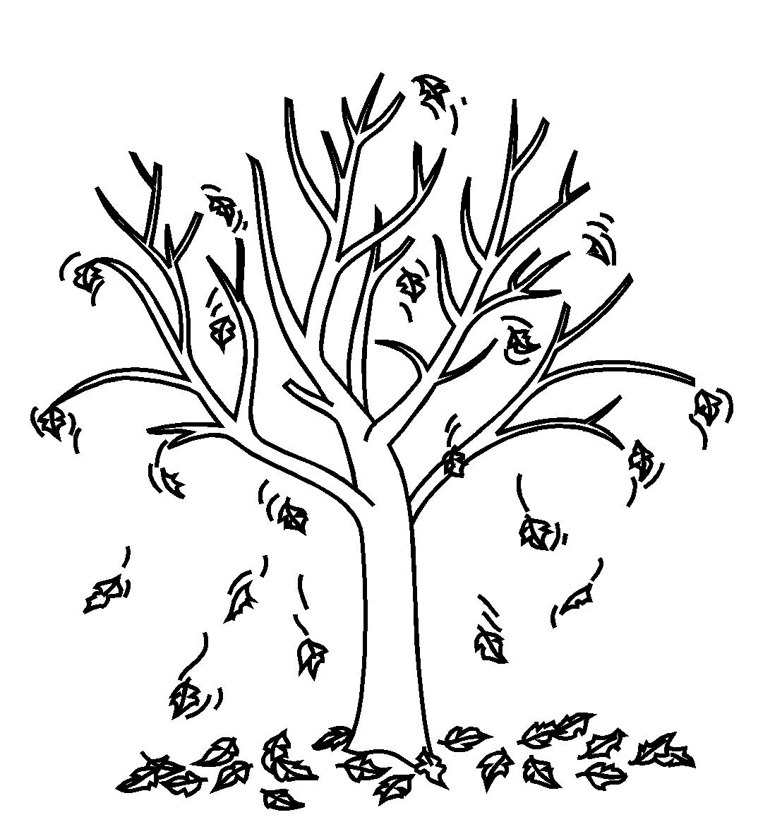 Fall Tree With Leaves Coloring Page Coloring Pages