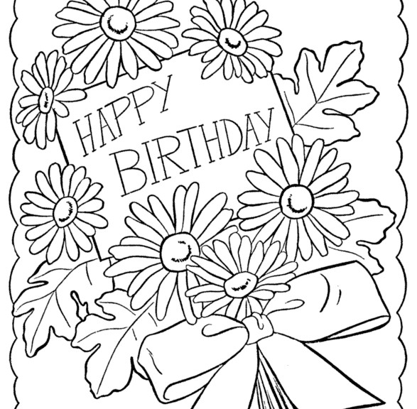 printable happy birthday coloring cards - Birthday Coloring Pages Girls