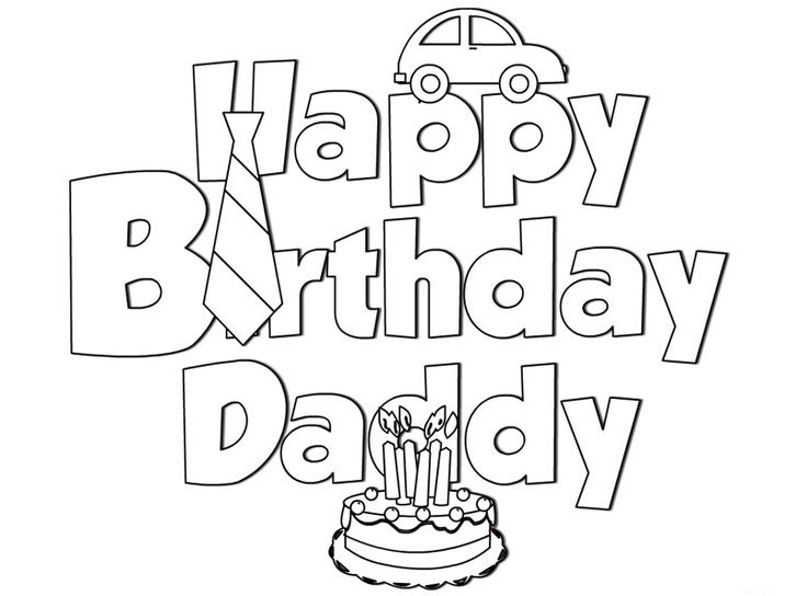 happy birthday coloring page for teachers happy birthday daddy coloring pages