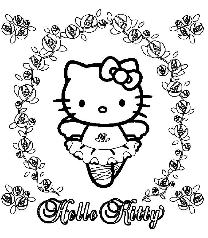 Ballerina Coloring Pages Hello Kitty