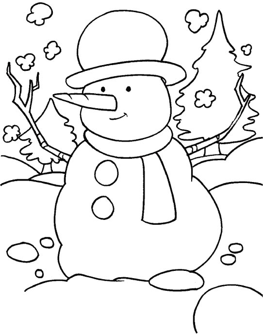Winter Snowman Coloring Pages
