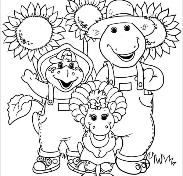 Barney the Purple Dinosaur Coloring Page