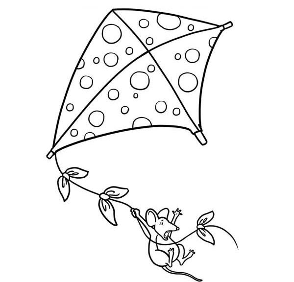 Flying Kite Coloring Sheets