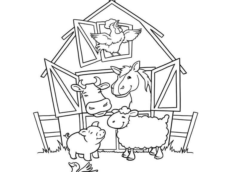 Farm animal coloring pages 360coloringpages for Free printable coloring pages farm animals