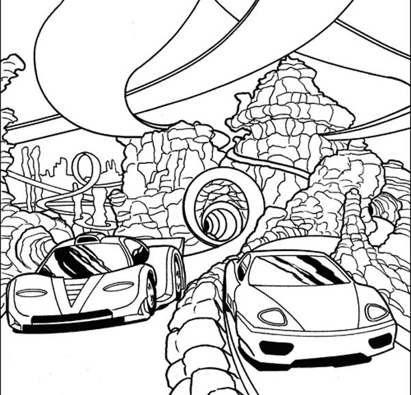 Race Car Track Coloring Page