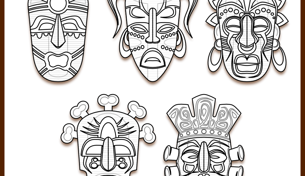 tribal mask coloring page