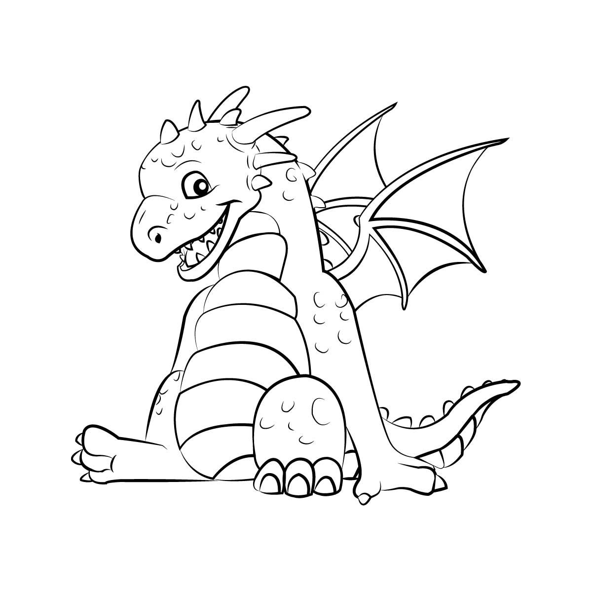 This is an image of Rare Dragon Coloring Picture